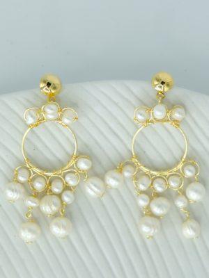 DM argollas pequeñas perlas colgantes